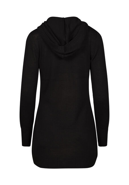 Women's Asymmetrical Zip Cardigan, BLACK, hi-res