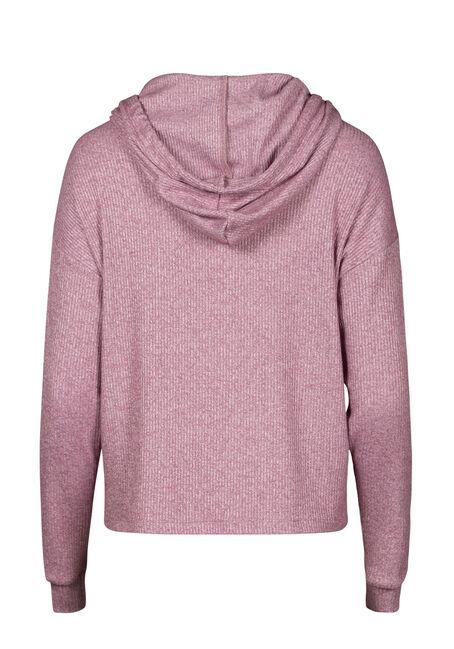 Women's Hooded Rib Top, BURGUNDY, hi-res