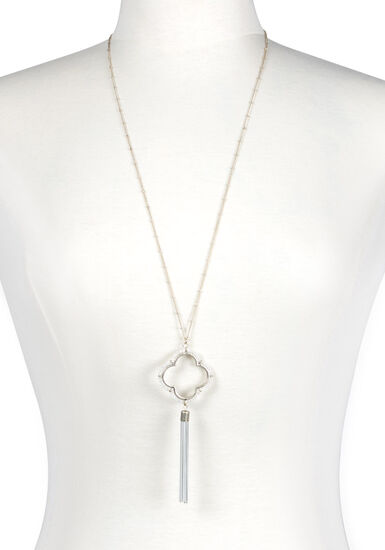Women's Beaded Clover Necklace, GOLD, hi-res