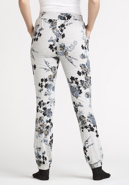 Women's Floral Print Jersey Jogger, HEATHER GREY, hi-res
