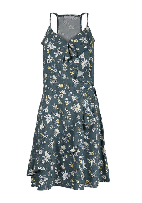 Ladies' Floral Ruffle Wrap Dress