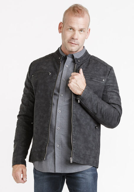Men's Washed Jacket, BLACK, hi-res