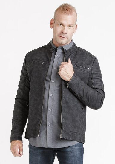 Men's Washed Jacket, BLACK, hi-res