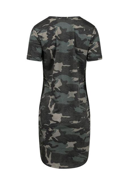 Women's Camo T-Shirt Dress, OLIVE, hi-res