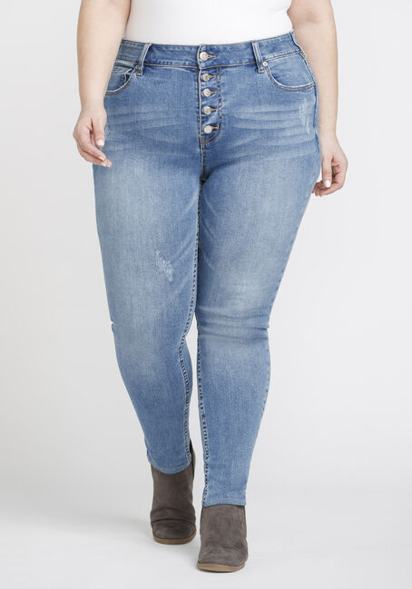 Women's Plus Size Distressed High Rise Skinny Jeans