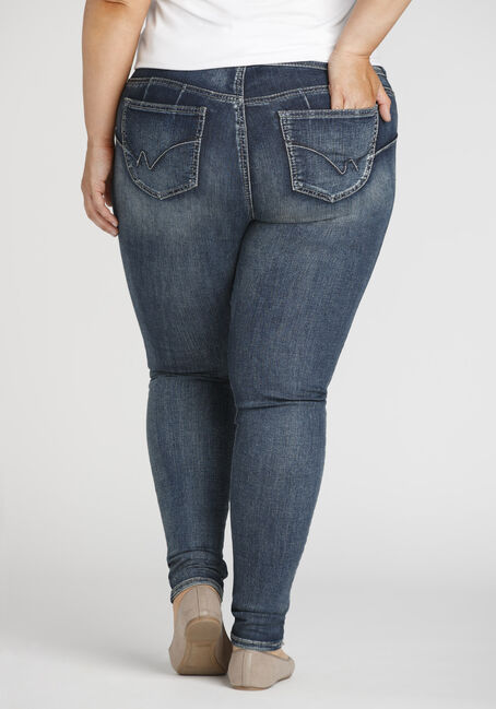Women's Plus Size Stacked Button Skinny Jeans, MEDIUM WASH, hi-res