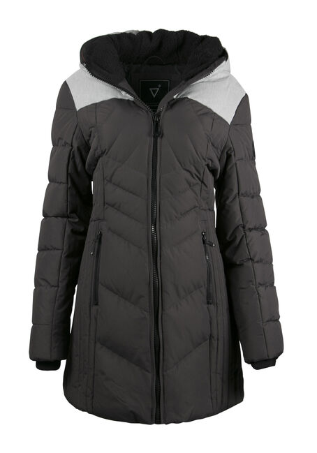 Ladies' Colour Block Quilted Parka