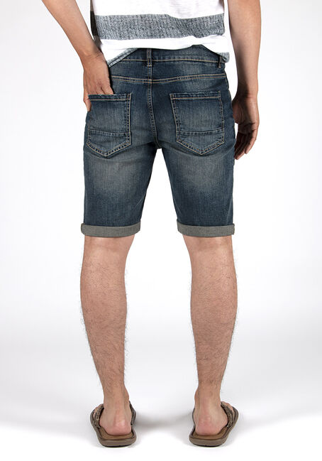 Men's Destroyed Denim Short, DARK WASH, hi-res