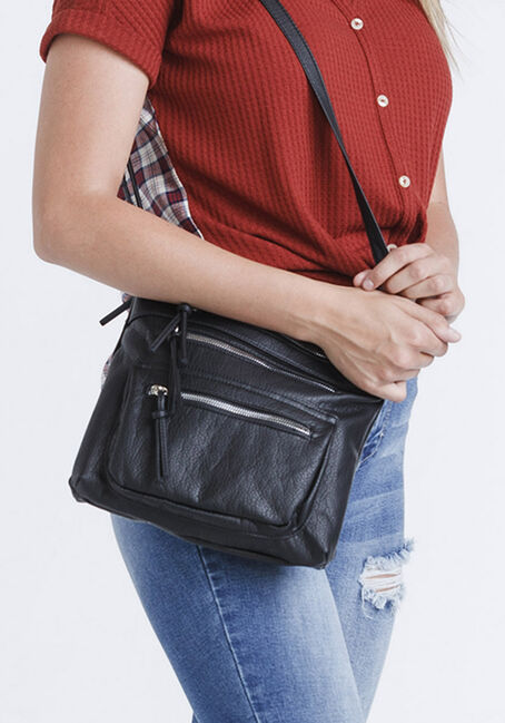Women's Triple Zipper Cross Body Bag, BLACK, hi-res