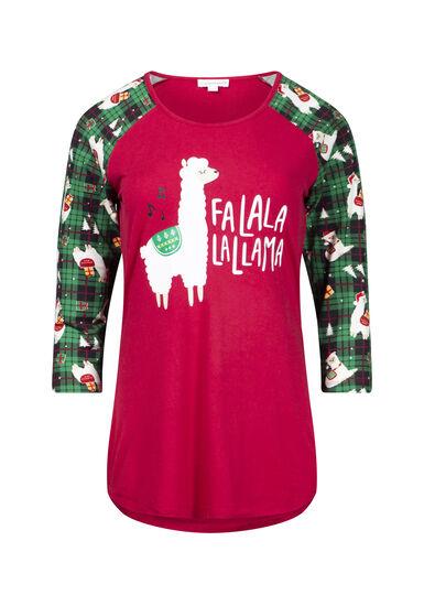 Women's Fa La Llama Baseball Tee, RIBBON RED, hi-res