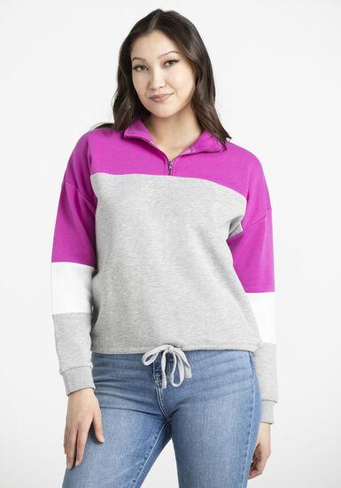 Women's Colour block zip neck popover, FIESTY FUSCHIA, hi-res