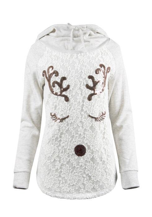 Ladies' Sequin Reindeer Hoodie, HEATHER GREY, hi-res