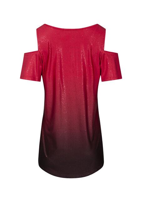 Women's Ombre Glitter Cold Shoulder Top, RED GLITTER, hi-res