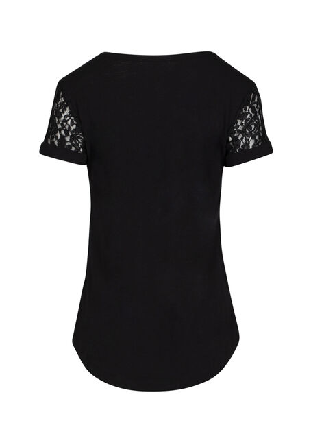 Ladies' Lace Yoke Tee, BLACK, hi-res