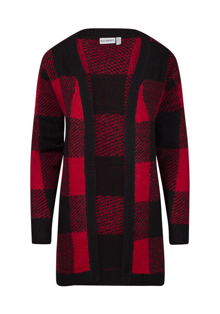 Women's Buffalo Check Open Cardigan