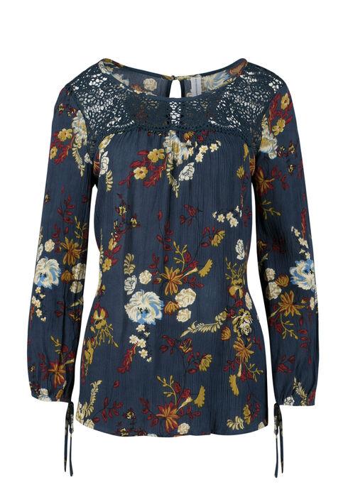 Ladies' Floral Print Crinkle Top, MOONLIGHT BLUE, hi-res