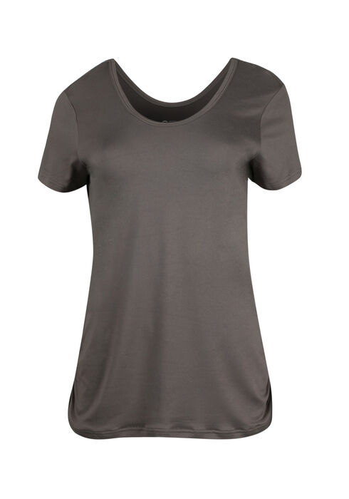 Women's Scoop Neck Ruched Side Tee, BASIL, hi-res