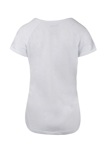 Ladies'  Notch Neck Tee, WHITE, hi-res
