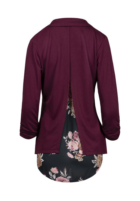 Women's Floral Chiffon Back Blazer, BURGUNDY, hi-res