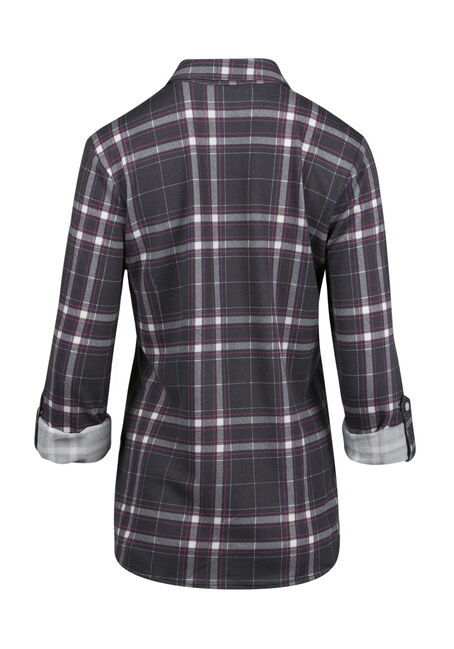 Ladies' Relaxed Knit Plaid Shirt, GREY, hi-res