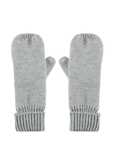 Women's Knit Mittens, LIGHT GREY, hi-res
