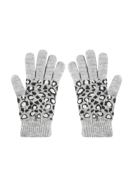 Women's Knit Gloves, GREY, hi-res