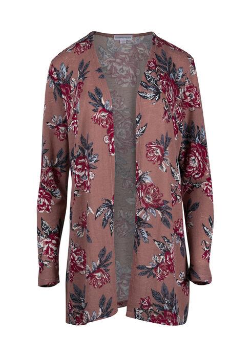 Women's Floral Cardigan, DARK ROSE, hi-res