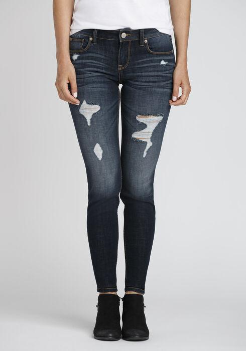 Women's Dark Distressed Skinny Jeans, DARK WASH, hi-res