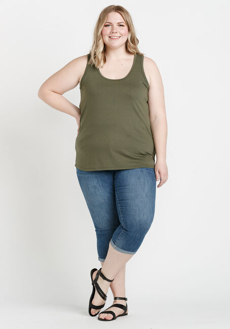 Women's Scoop Neck Loose Fit Tank, MOSS, hi-res