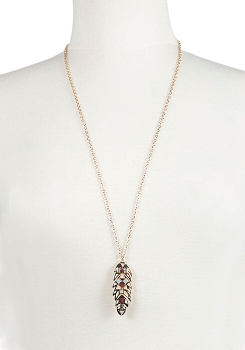 Ladies'  Feather Necklace, GOLD, hi-res