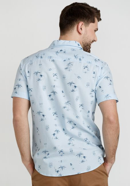 Men's Surf Print Shirt, LIGHT BLUE, hi-res