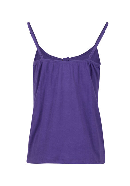 Women's Knot Front Ruffle Tank, VIOLET, hi-res