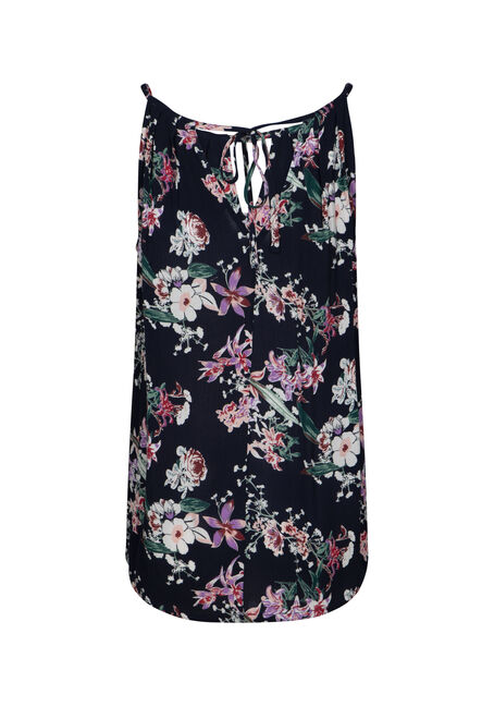 Women's Floral Halter Neck Tank, NAVY, hi-res