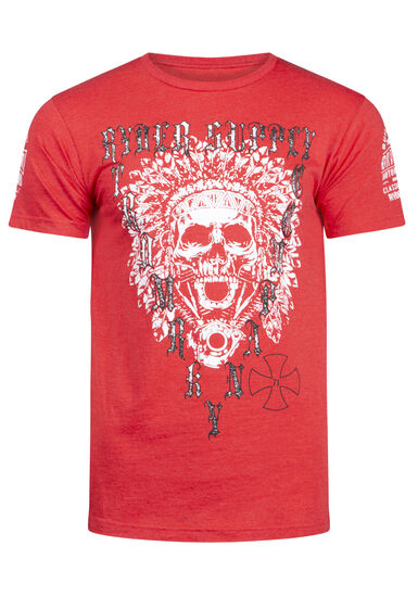 Men's Motorcycle Skull Tee, Heather Red, hi-res