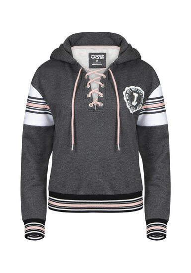 Women's Love Cropped Lace Up Hoodie, CHARCOAL, hi-res