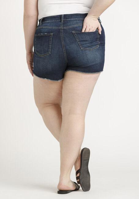 Women's Plus High Rise Exposed Button Fly Frayed Hem Short, DARK WASH, hi-res