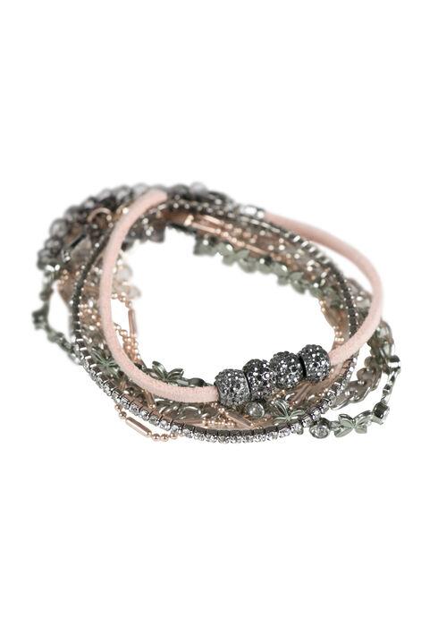Ladies' 5 Pair Bracelet Set, PINK, hi-res
