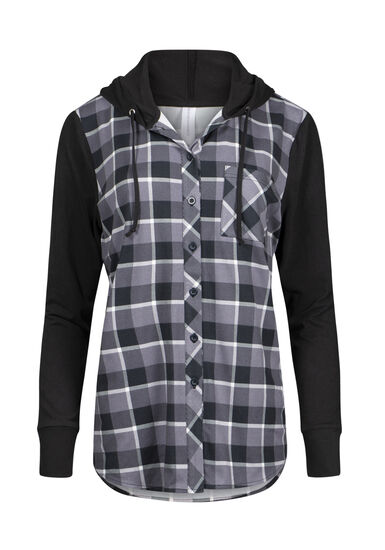 Women's Hooded Plaid Shirt, BLACK, hi-res