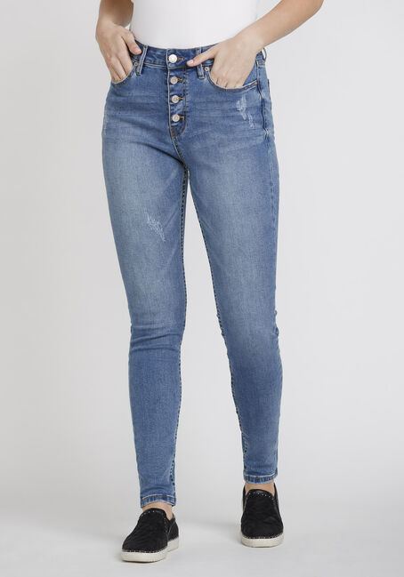 Women's Distressed Button Fly High Rise Skinny Jeans