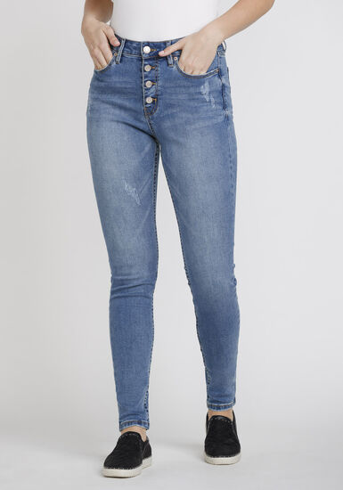 Women's Distressed Button Fly High Rise Skinny Jeans, DENIM, hi-res