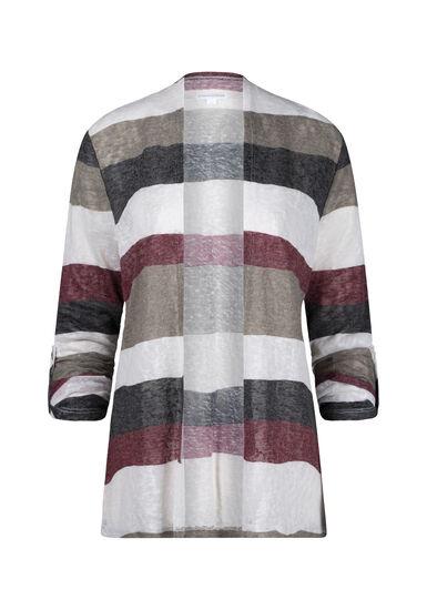 Women's Stripe Roll Sleeve Cardigan, BURGUNDY, hi-res