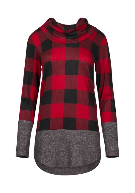Women's Buffalo Plaid Cowl Neck, RED/BLACK, hi-res