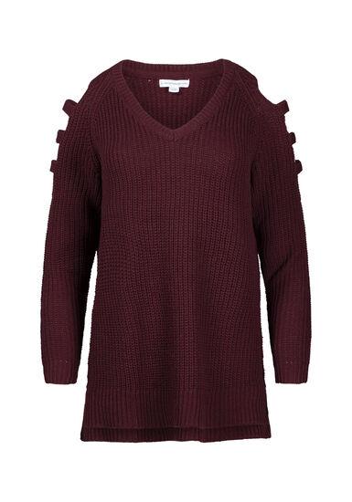 Women's Ladder Sleeve Sweater, BURGUNDY, hi-res