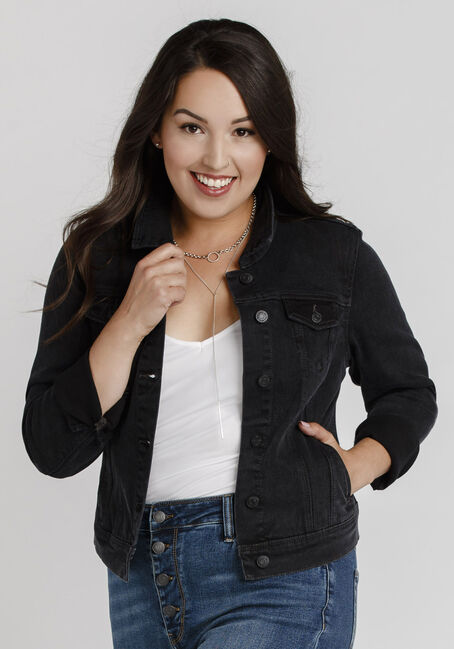 Women's Black Jean Jacket, BLACK, hi-res
