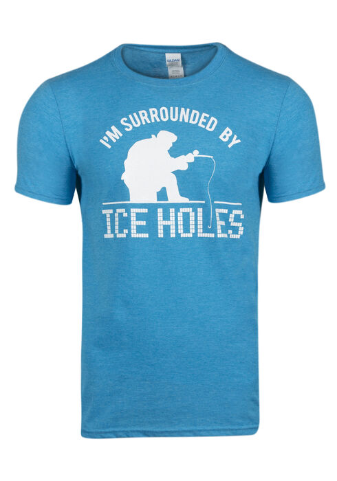 Men's Surrounded By Ice Holes Tee, HEATHER SAPPHIRE, hi-res