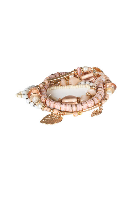 Women's 5 Pair Bracelet Set, PEACH, hi-res