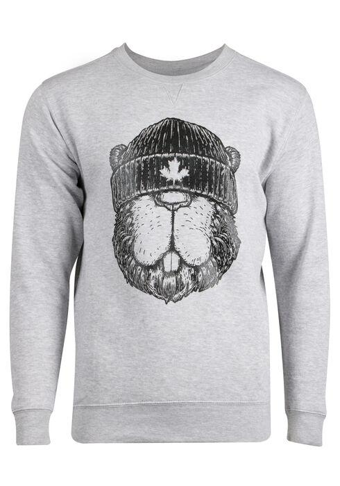 Men's Canadian Beaver Sweatshirt, HEATHER GREY, hi-res