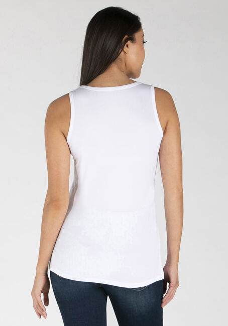 Women's Scoop Neck Loose Fit Tank, WHITE, hi-res