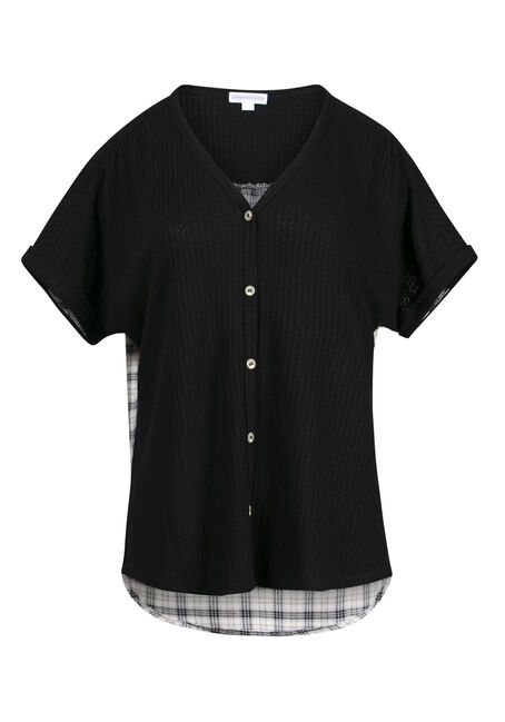 Women's Plaid Back Waffle Button Up Top