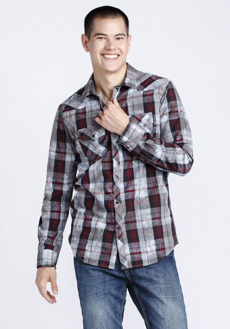 Men's Washed Plaid Shirt, BURGUNDY, hi-res